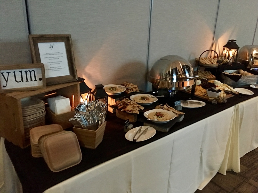 bread bar with silverware and plates