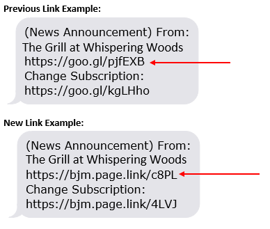 Examples of previous and new links