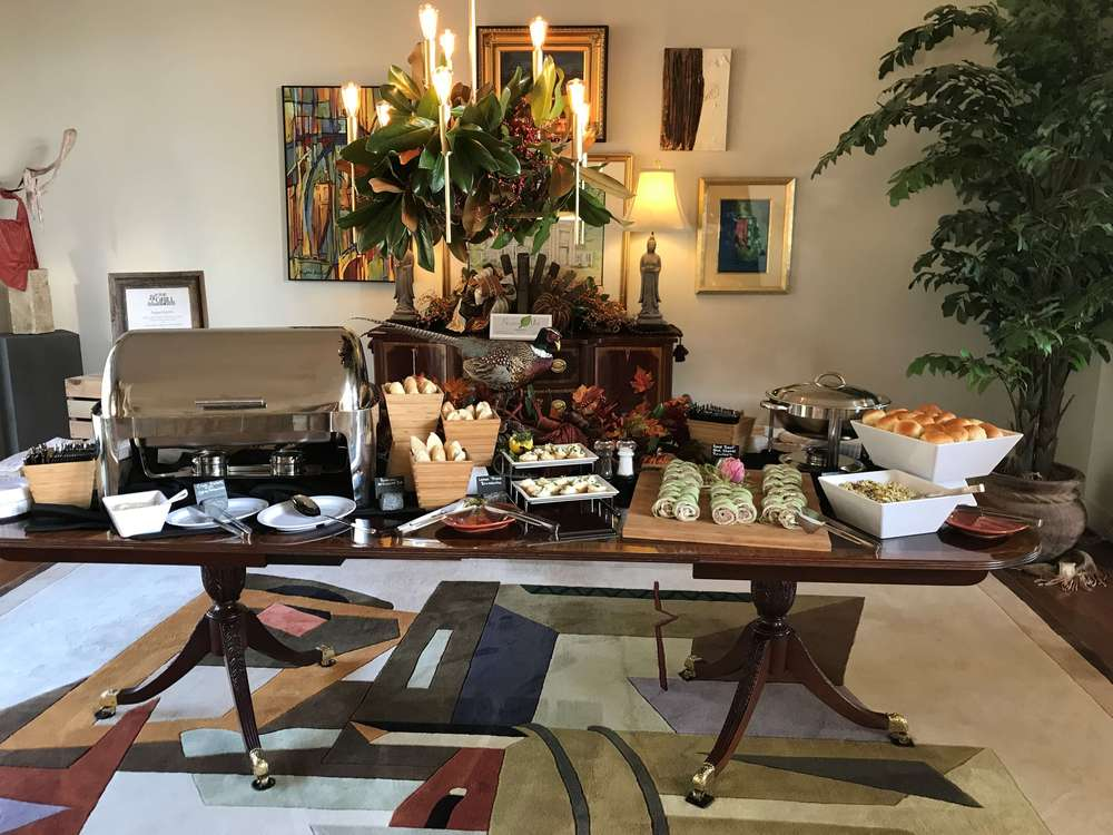 Catering buffet set up for a fall party