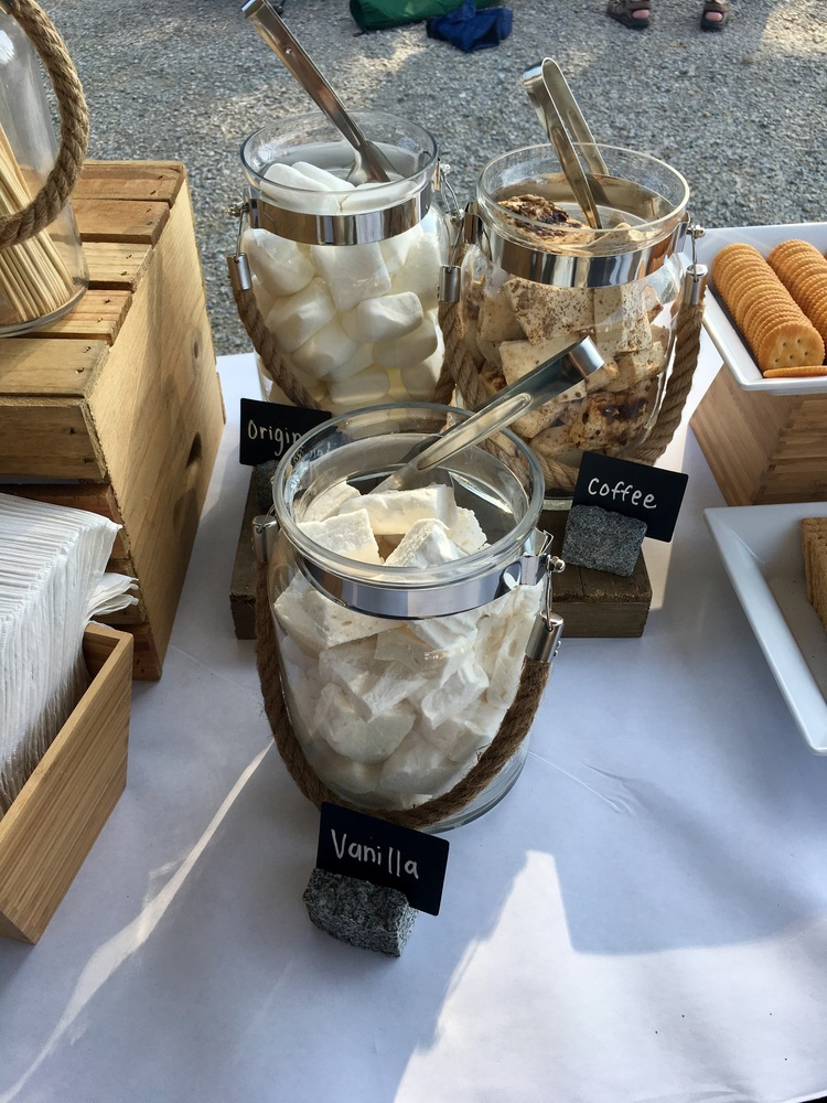 containers hold original marshmallows, coffee marshmallows, and vanilla marshmallows