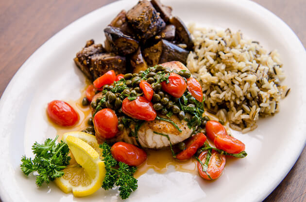 Amberjack with Capers and Tomatoes